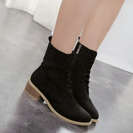 Ericdress Brilliant Black Lace-up Martin Ankle Boots