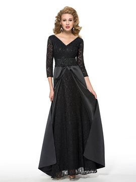 Ericdress Elegant V Neck 3/4 Length Sleeves Long Mother of the Bride Dress