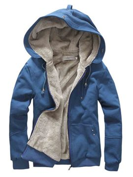 Ericdress Plain Flocking Hooded Men's Hoodie