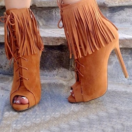 Ericdress Lace up Peep-toe High Heel Boots with Tassels