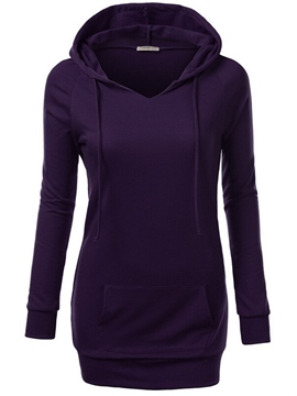Ericdress Simple Plain Mid-Length Hoodie