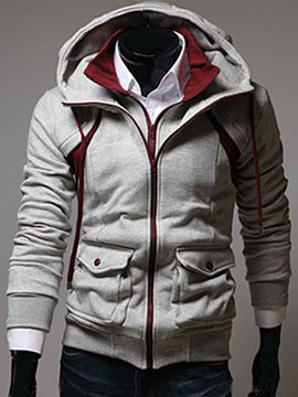 Ericdress Pocket Double-Layer Zip Men's Hoodie