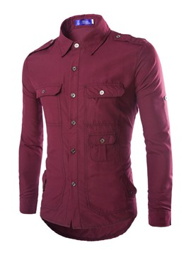 Ericdress Solid Color Multi-Pocket Men's Shirt