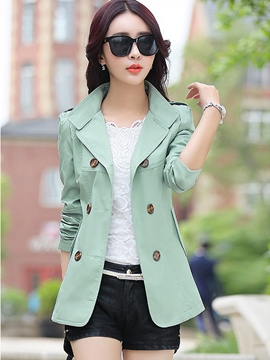 Ericdress Classic Plain Double-Breasted Short Trench Coat