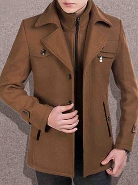 Ericdress Solid Color Double-Layer Zip Men's Woolen Coat