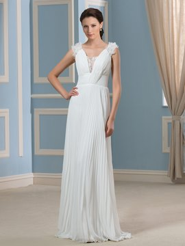 Ericdress Beautiful V Neck Pleats A Line Lace Chiffon Wedding Dress