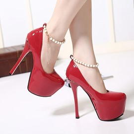 Ericdress European Pearl Ankle Strap Pumps