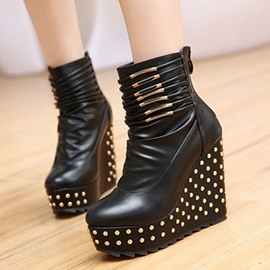 Ericdress Gorgeous Wedge Heel Ankle Boots with Rivets