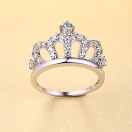 Noble Crown Shaped Silver Ring