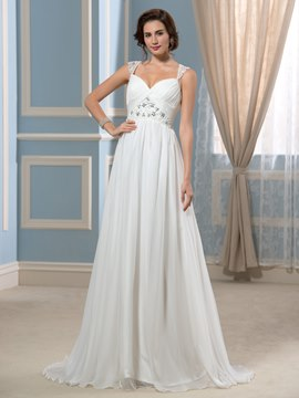 Ericdress Beautiful Straps Beading A Line Chiffon Wedding Dress
