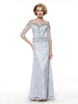Ericdress Elegant 3/4 Length Sleeves Sheath Column Lace Mother of the Bride Dress