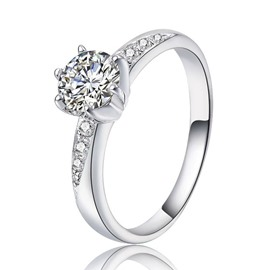 Shining 0.8ct High Quality Zircon Decorated Silver Ring