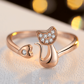 Cute Cat Shaped S925 Silver Ring