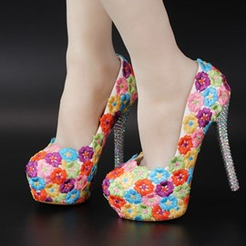Ericdress Charming Flower Applique High Heel Wedding Shoes