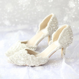 Ericdress Brilliant Pearls&Flowers Stiletto Heels Wedding Shoes