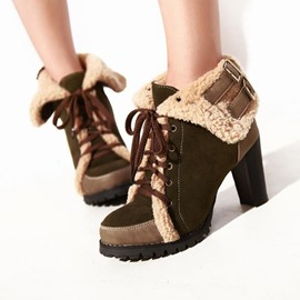 Ericdress All-matched Suede Lace-up Martin Boots