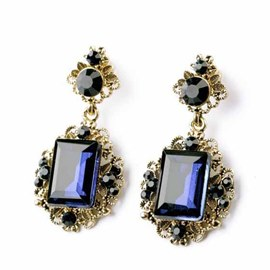 Retro Style Square Rhinestone Decorated Earrings