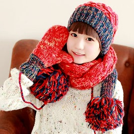 Cute Female Thickening Knitted Hat&Scarf&gloves(Price for a Set)