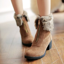 Ericdress Unique Furry Ankle Boots with Zipper