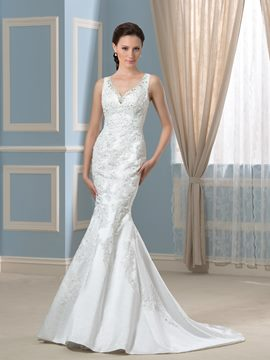 Ericdress Charming V Neck Beading Mermaid Wedding Dress