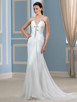 Ericdress Fancy Halter Beading Sheath Column Backless Wedding Dress