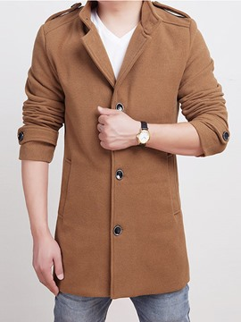 Ericdress Solid Color Single-Breasted Men's Coat