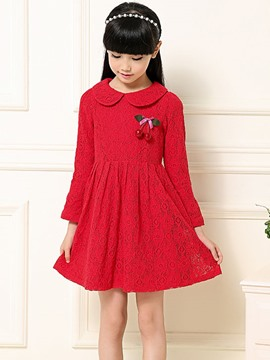Ericdress Plain Lace Girl Dress