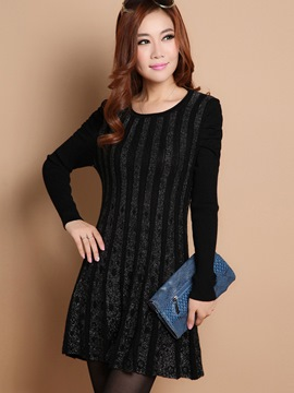 Ericdress Pleated Round-Neck Casual Dress