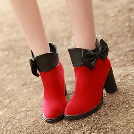 Ericdress Patchwork Chunky Heel Boots with Bowtie