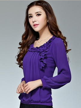Ericdress Plain Chiffon Casual Blouse