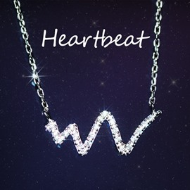 Concise Heartbeat Shaped Pendent Silver Necklace