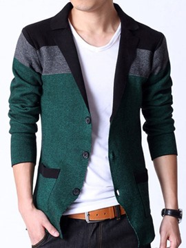 Ericdress Color Block Pocket Design Men's Sweater Coat