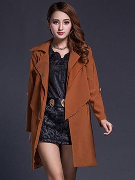 Ericdress Solid Color Elegant Lace-Up Trench Coat