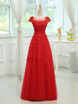 Ericdress Elegant A-line Appliques Lace-Up Evening Dress