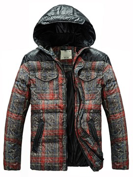Ericdress Hooded Zip Plaid Men's Cotton Coat
