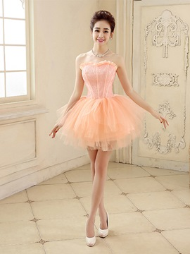 Ericdress A-Line Strapless Lace Tiered Short Homecoming Dress