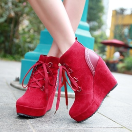 Ericdress Lace-up Wedge Heel Ankle Boots