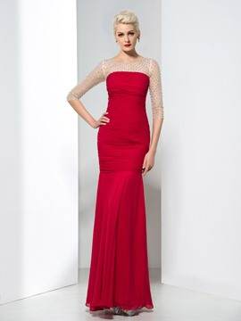 Ericdress Trumpet Crystal Half Sleeves Evening Dress