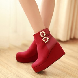 Ericdress Wedge Heel Ankle Boots with Buckles