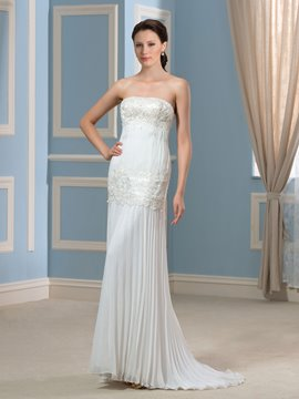 Ericdress Beautiful Strapless Pleats Lace Wedding Dress