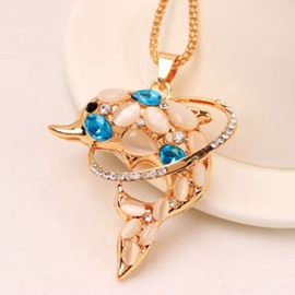 Elegant Crystal Decorated Dolphin Pendent Alloy Necklace