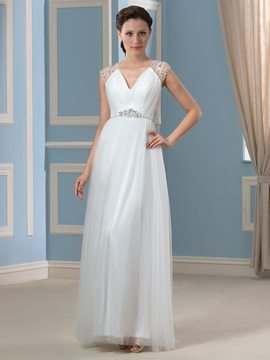 Ericdress Charming V Neck Beading A Line Wedding Dress