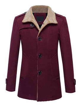 Ericdress Solid Color Flocking Stand Collar Single-Breasted Men's Coat