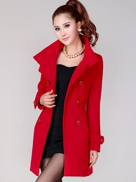 Ericdress Plain Double-Breasted Coat