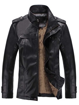 Ericdress PU Flocking Zip Men's Blazer