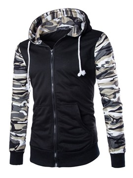 Ericdress Zip Camouflage Sleeves Men's Hoodie