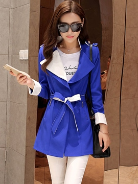 Ericdress Color Block Zipper Lace-Up Trench Coat