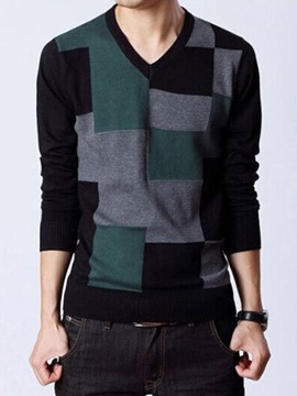 Ericdress Pullover Color Block Men's Sweater
