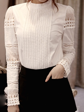 Ericdress Plain Hollow Round Neck Blouse