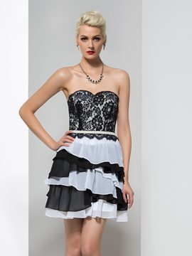 Ericdress Sweetheart Ribbon Tiered Lace Cocktail Dress